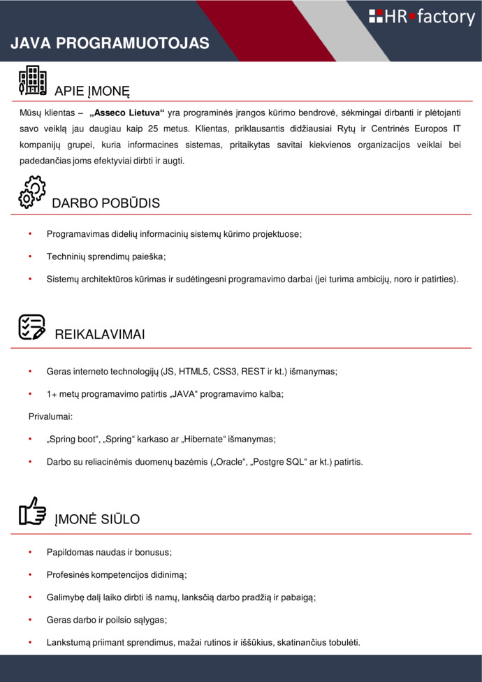 Java Programuotojas (-a), Vilnius (iki ) | ALISA MANAGEMENT LABORATORY
